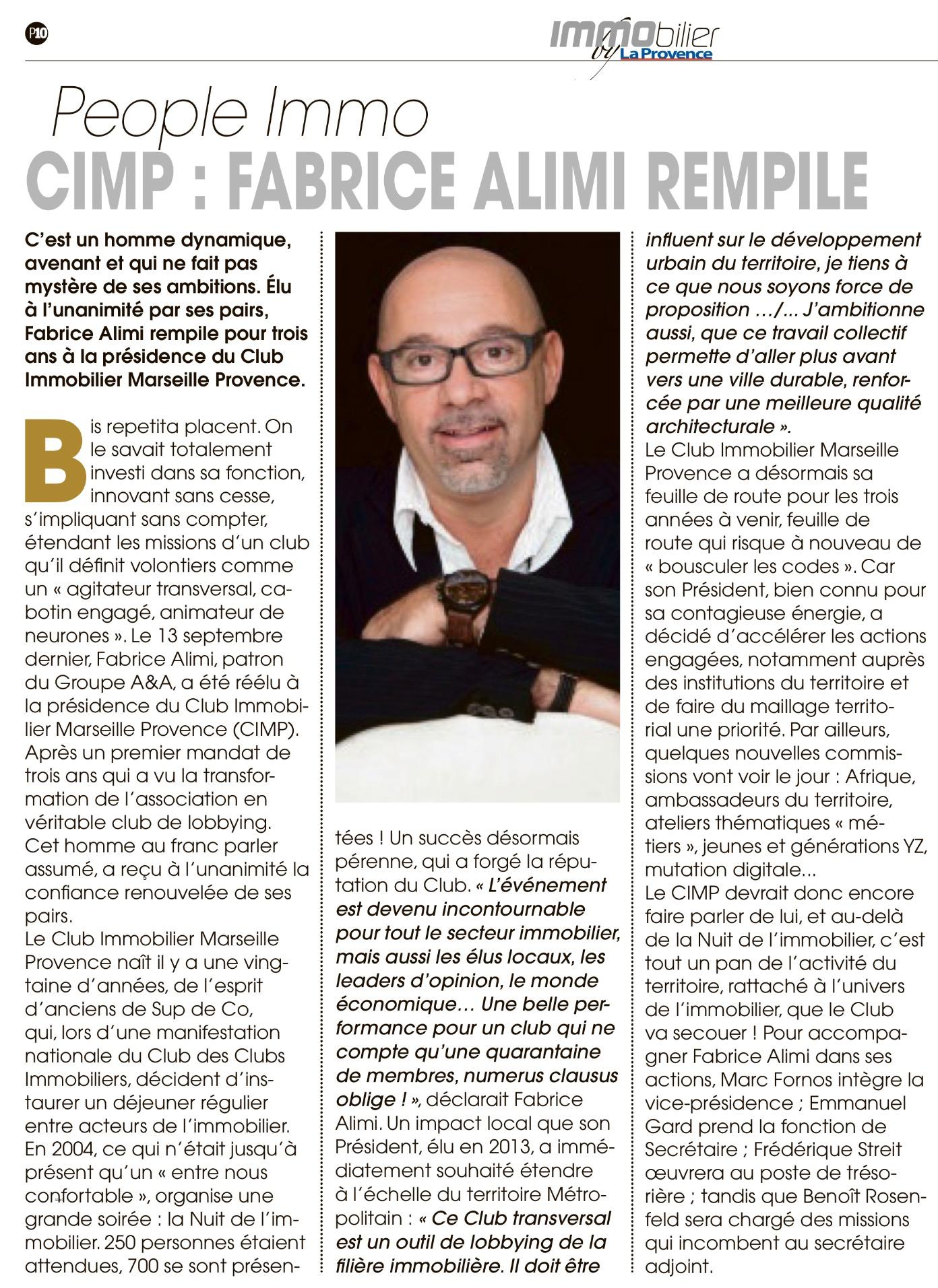 PEOPLE IMMO, CIMP : FABRICE ALIMI REMPLIE (Immobilier by La Provence, le 06/10/2016)
